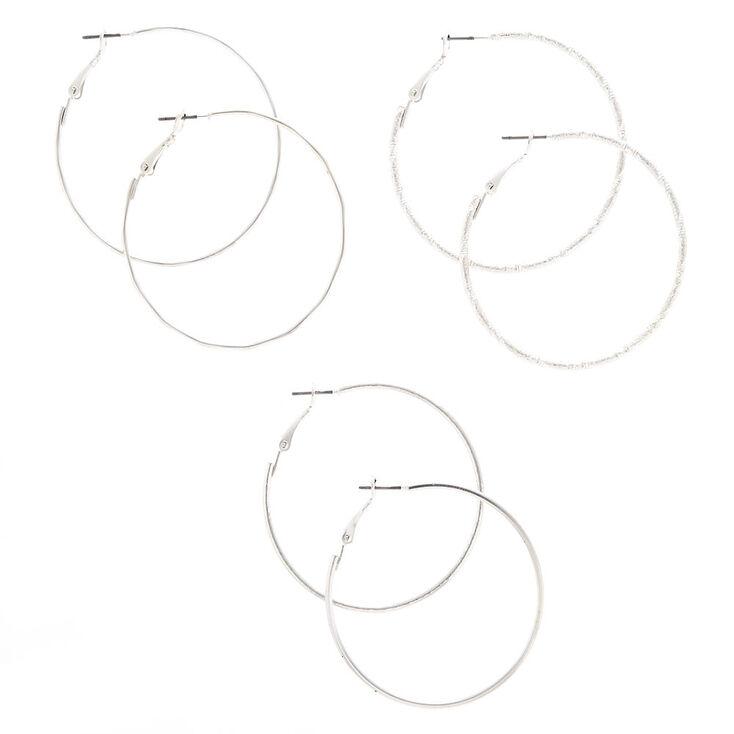 Silver 50MM Textured Hoop Earrings - 3 Pack,