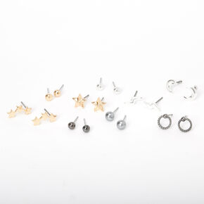 Mixed Metal Star Moon Lightning Stud Earrings - 9 Pack,