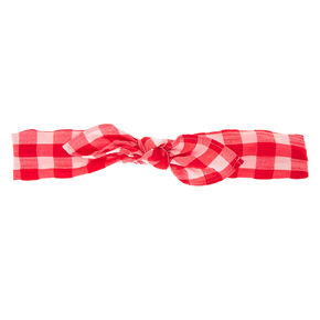 Gingham Knotted Bow Headwrap - Red,