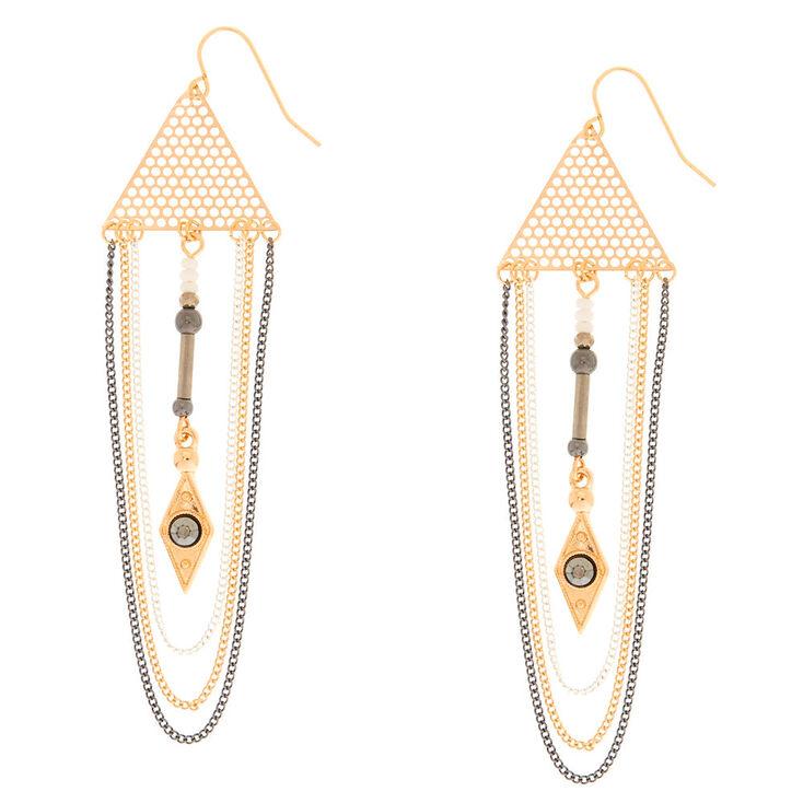 Mixed Metal Triangle & Chain Drop Earrings,