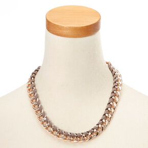 Rose Gold Suede Wrapped Chain Necklace,