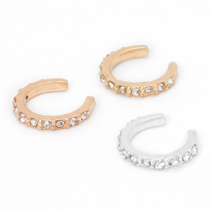 Mixed Metal Thin Embellished Ear Cuffs - 3 Pack,