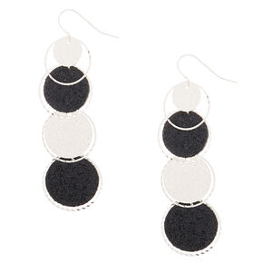 "2"" Glitter Disk Drop Earrings - Black,"