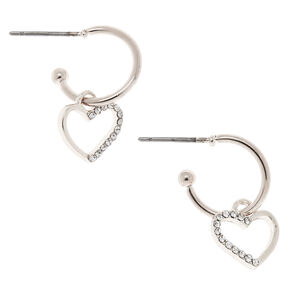 Silver 12MM Heart Hoop Earrings,