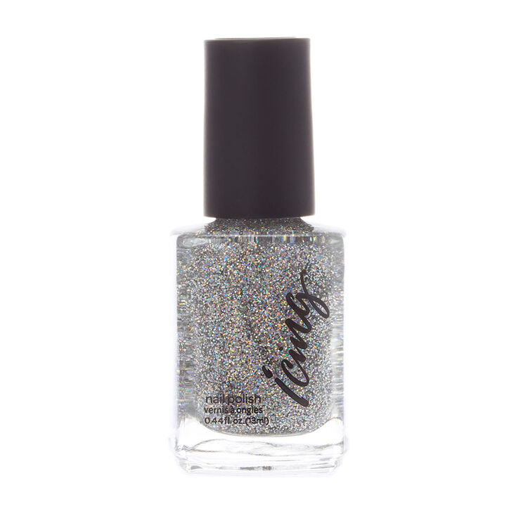 Glitter Top Coat Nail Polish - Silver,