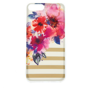 Floral and Striped Phone Case - White,
