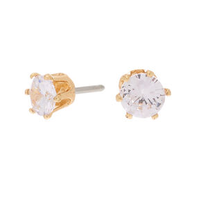 Gold Cubic Zirconia 6MM Round Stud Earrings,