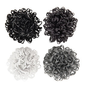 Loopy Ribbon Black & Gray Hair Ties,