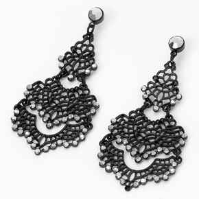 "Jet Black 2.5"" Filigree Drop Earrings,"