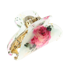 Pink & Cream Vintage Floral Hair Claw,