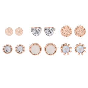 Rose Gold Sparkle Stud Earrings - 6 Pack,