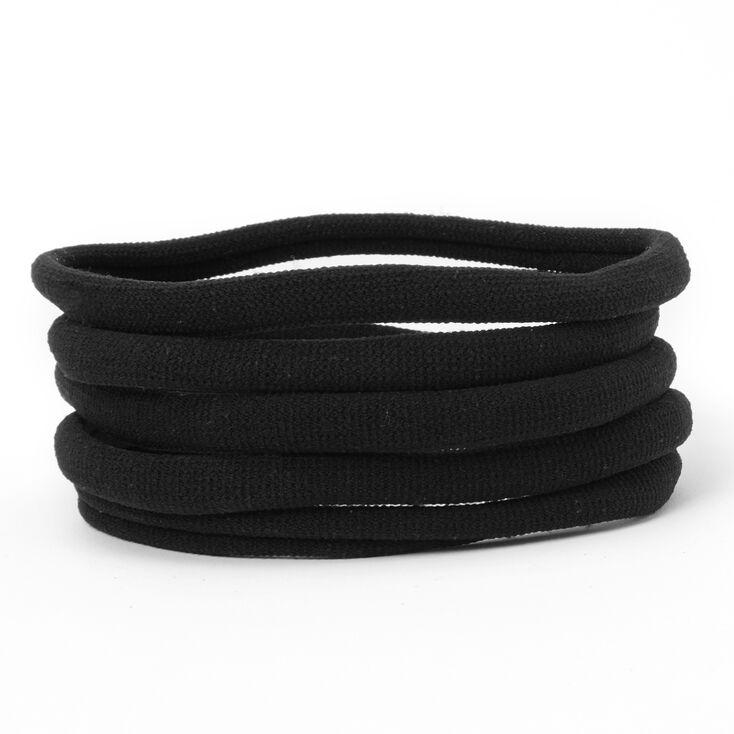 Ribbed Rolled Hair Ties - Black, 5 Pack,
