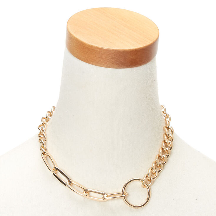 Gold Chain Linked Up Statement Necklace,