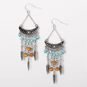 "Silver 3"" Boho Feather Beaded Chandelier Drop Earrings,"