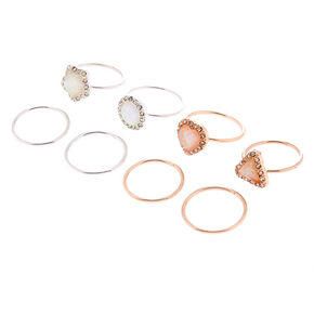 Mixed Metal Iridescent Stone Rings - 8 Pack,