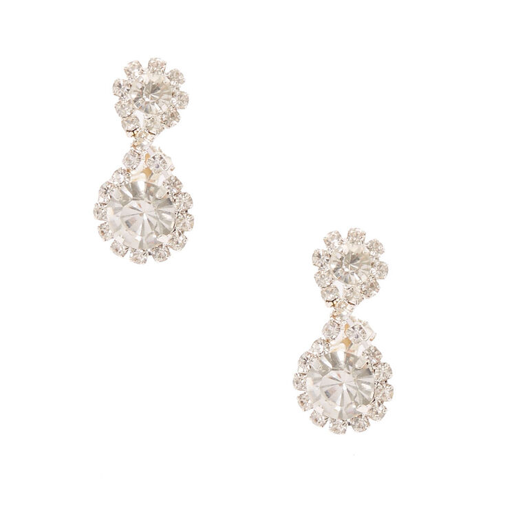 "Silver 1"" Embellished Halo Clip On Drop Earrings,"