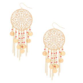 "Gold 3"" Filigree Bead Drop Earrings - Coral,"