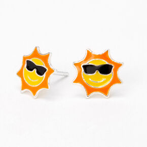 Sterling Silver Sunglasses Sun Stud Earrings,