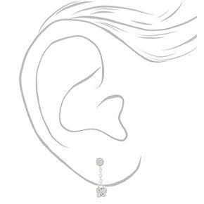 """Sterling Silver 0.5"""" Swarovski® Crystal Butterfly Drop Earrings,"""