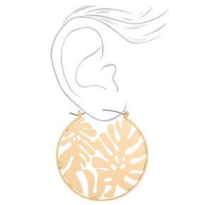 Gold 50MM Palm Leaf Hoop Earrings,