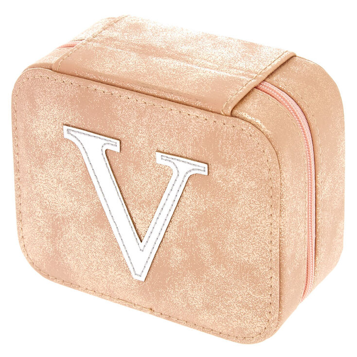 "Blush Pink ""V"" Initial Jewelry Case,"
