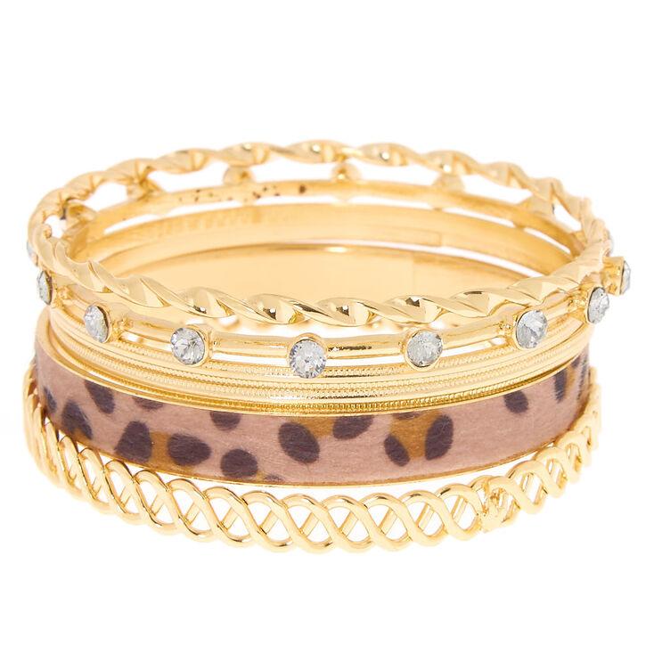 Gold Leopard Bangle Bracelets - 6 Pack,