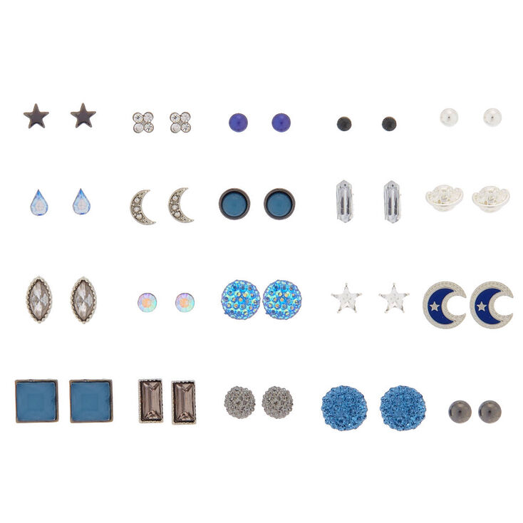 Celestial Galaxy Stud Earrings - Blue, 20 Pack,