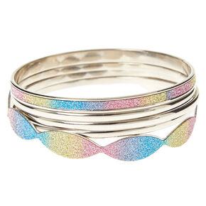 Glitter Rainbow Ombre Bangle Set,