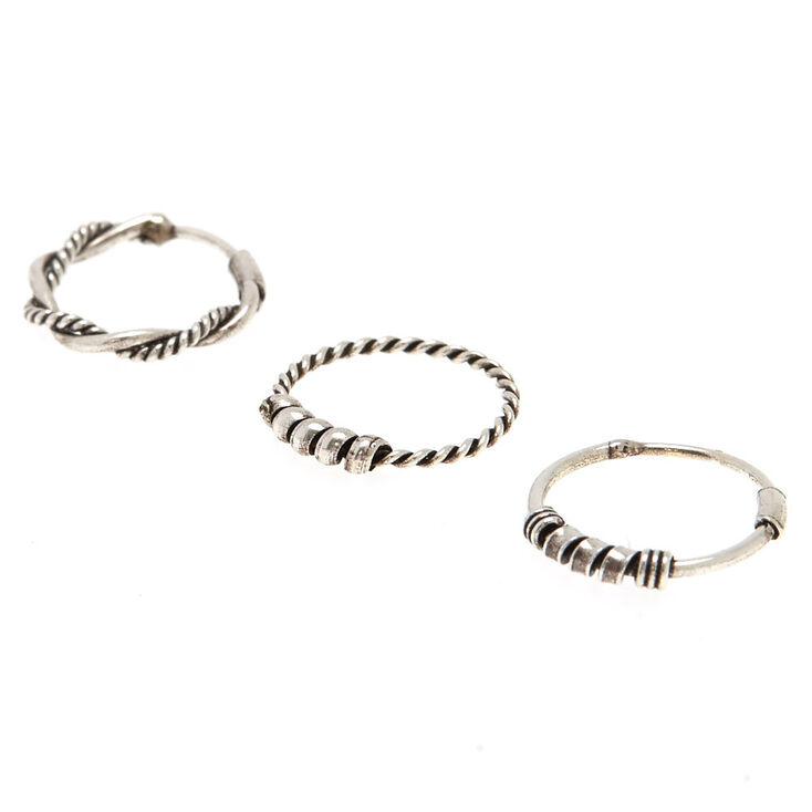 Sterling Silver Bali Braided Nose Rings 3 Pack,