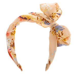 Spring Floral Bow Headband - Nude,