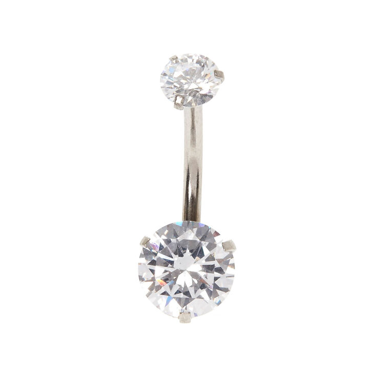 Silver 14G Round Cubic Zirconia Belly Ring,