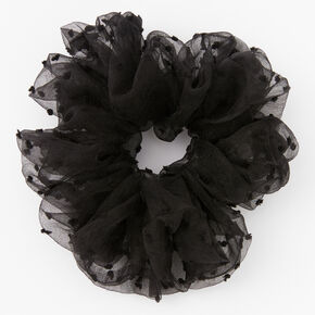 Giant Swiss Dot Sheer Hair Scrunchie - Black,