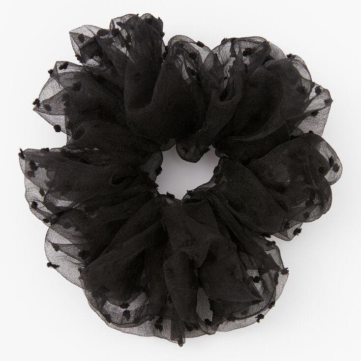 Giant Swiss Dot Sheer Hair Scrunchie - Black,