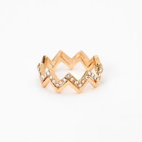 Gold Embellished Zig Zag 2-in-1 Rings,
