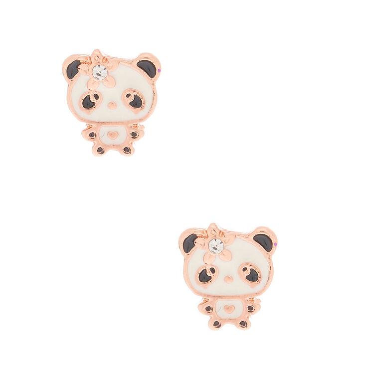 18kt Rose Gold Plated Flower Panda Stud Earrings,