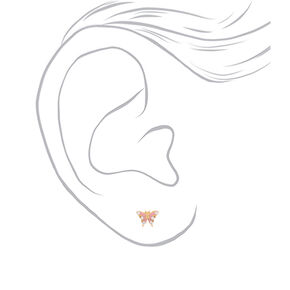 18kt Gold Plated Butterfly Stud Earrings - Pink,