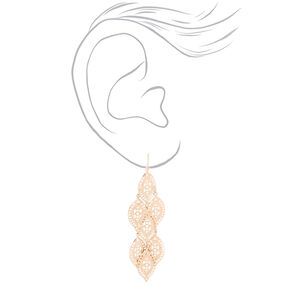 "Rose Gold 2.5"" Leaf Chandelier Drop Earrings,"