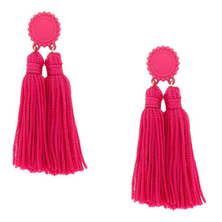 Double Tassel Drop Earrings - Hot Pink,