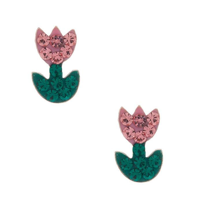 Sterling Silver Tulips Stud Earrings,