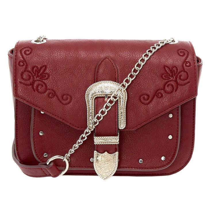 Faux Leather Burgundy Western Buckle Crossbody Bag,