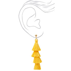 "Gold 2.5"" Layered Tassel Drop Earrings - Yellow,"