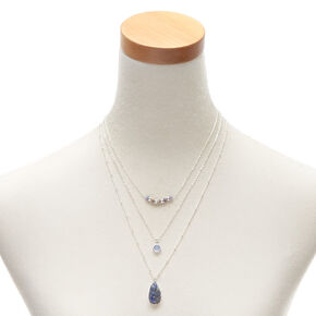 Silver Druzy Bead Multi Strand Necklace - Blue,