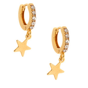 18kt Gold Plated Dangle Star Hoop Earrings,