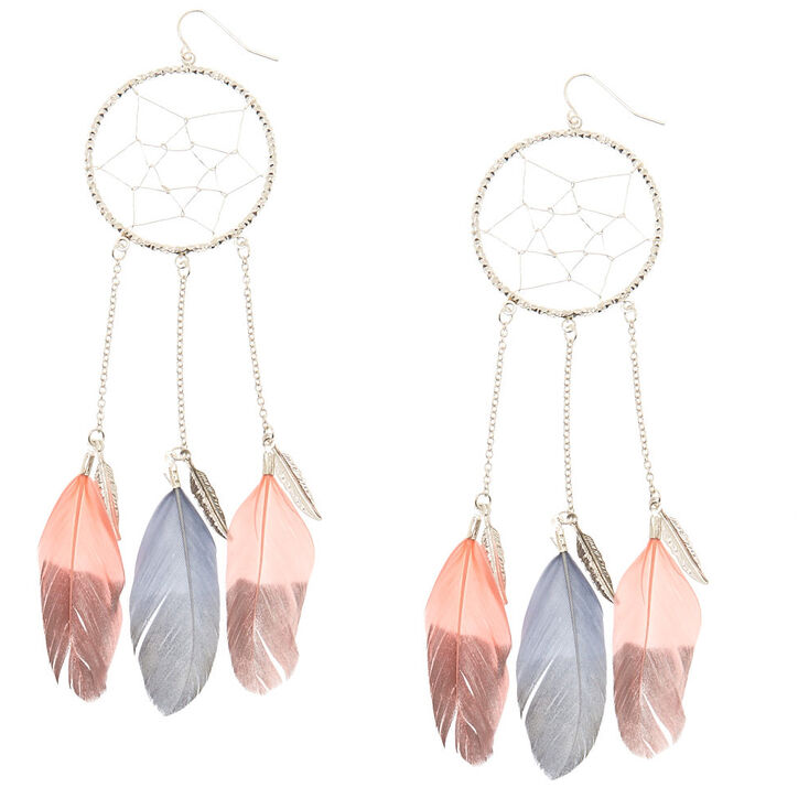 Pink And Gray Dreamcatcher Drop Earrings,