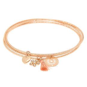 Rose Gold Romantic Charm Bangle Bracelets - 3 Pack,