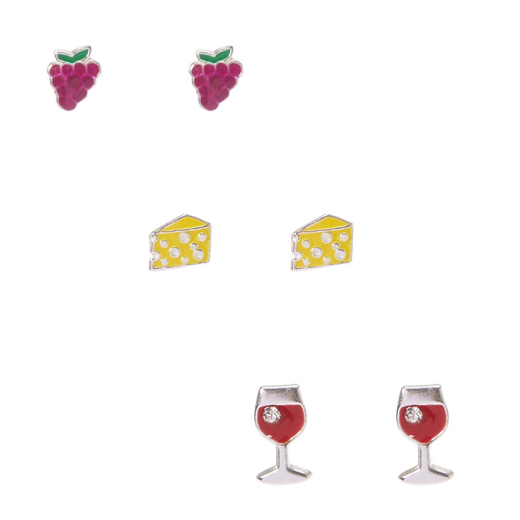 925 Sterling Silver Wine And Cheese Stud Earrings,