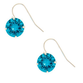 10MM Blue Cubic Zirconia Drop Earrings,