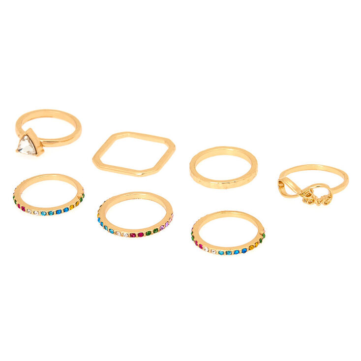 Gold Rainbow Assorted Ring Set - 7 Pack,