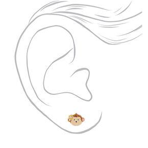 Sterling Silver Glitter Monkey Stud Earrings,