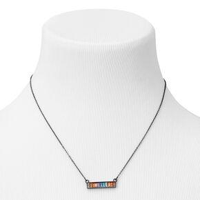 Hematite Rainbow Bar Pendant Necklace,